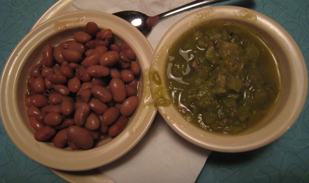 A bowl of green chile and a bowl of beans--sheer pleasure!
