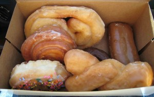 A glorious six-pack of donuts