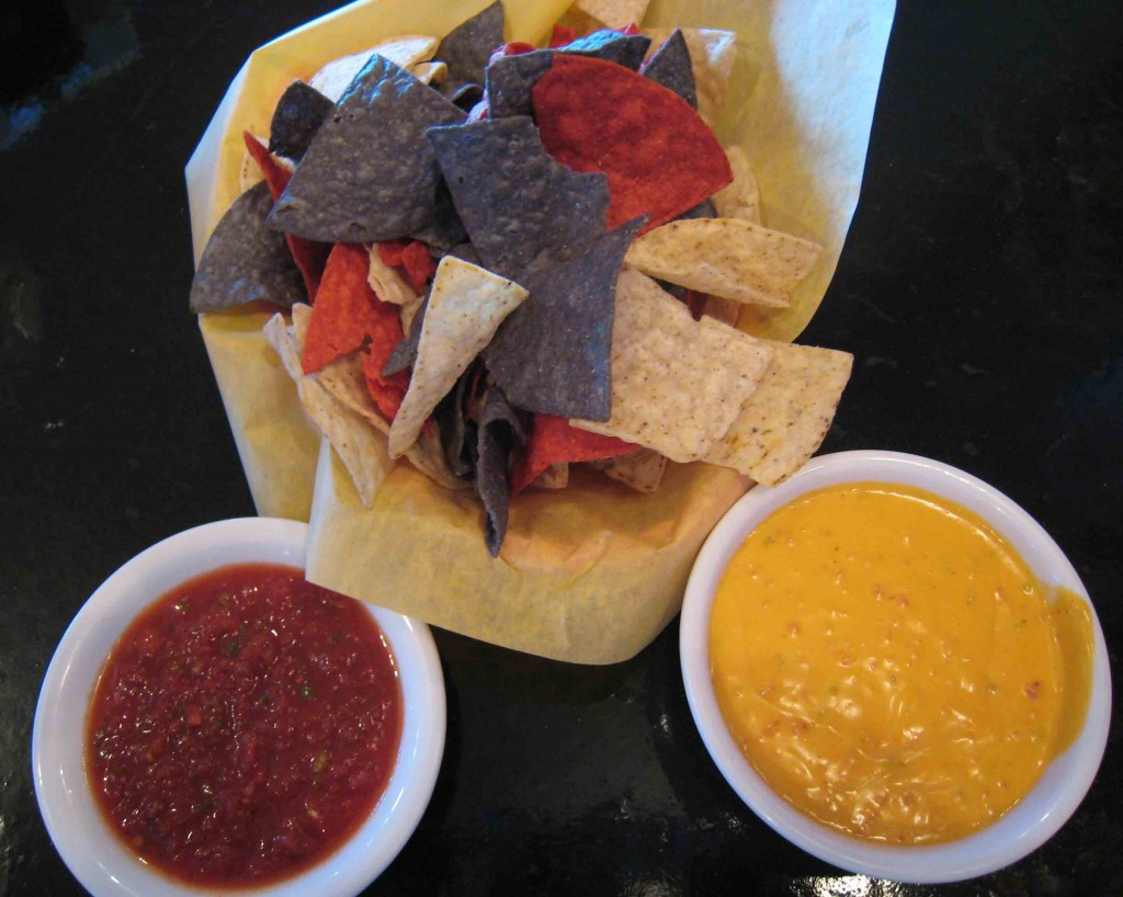 Salsa, Con Queso and Chips